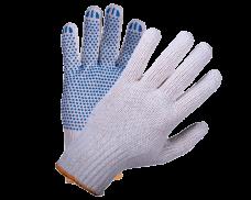 Перчатки трикотажные х/б с точечным ПВХ (5-нитка кл.7) белые