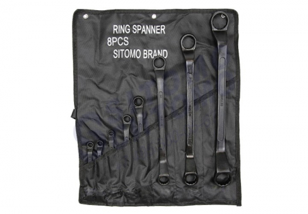 Набор ключей накидных 8шт 8х10-32х36мм оксид сумка-скатка