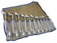 Набор ключей накидных 11шт 8х9-27х30мм цинк в сумке-скатке