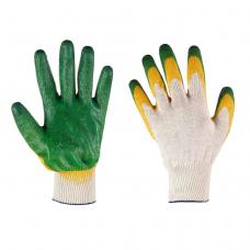 Перчатки трикотажные х/б с 2-ным латексным покрытием цветные