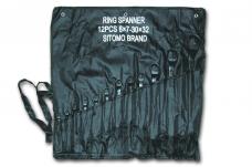 Набор ключей накидных 12шт 6х7-30х32мм оксид сумка-скатка