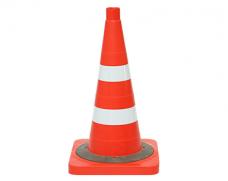 Конус сигнальный мягкий КС-2.8.0 2-СОП белые оранжевый отв.40 утяжелитель 520х340мм