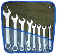Набор ключей комбинированных 8шт 8-22мм цинк сумка-скатка