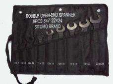 Набор ключей рожковых 9шт 6х7-22х24мм оксид в сумке-скатке