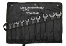 Набор ключей рожковых 10шт 8х10-32х36мм оксид сумка-скатка