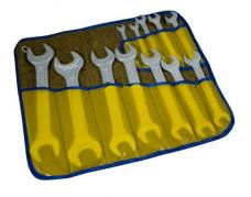 Набор ключей рожковых 12шт 8х10-30х32мм цинк брезент.скатка
