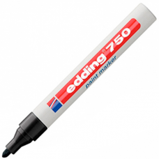 Маркер промышленный Edding 750 черный круглый 2-4мм лаковый глянцевый алюм.