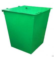 Контейнер для ТБО 0,75м3 с крышкой 110х70х90см мет. 1,5мм зеленый