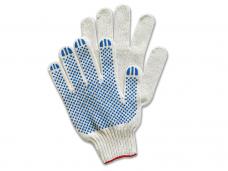 Перчатки трикотажные х/б с точечным ПВХ (вязаные 8-ми нитка кл.7,5) белые\801ТП-7,5\