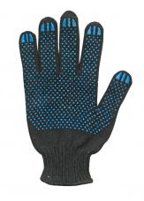 Перчатки трикотажные х/б с точечным ПВХ (8-ми нитка кл.7,5) черные