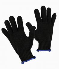 Перчатки трикотажные х/б (вязаные 8-ми нитка кл.7,5) черные \802-7,5\