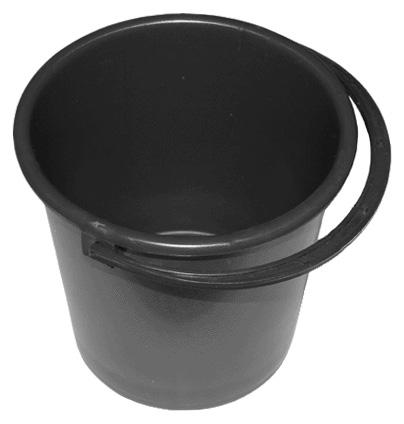 Ведро пластиковое 10л хозяйственное с ручкой ф260хh260мм (черное)