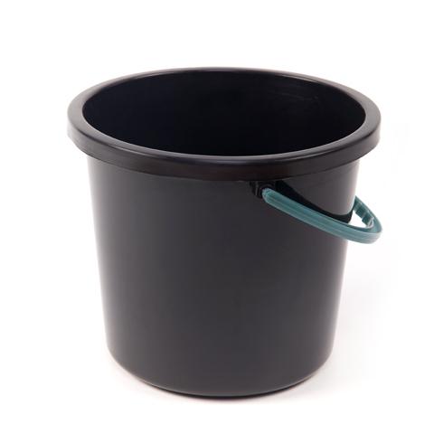 Ведро пластиковое 8л хозяйственное с ручкой (черное)