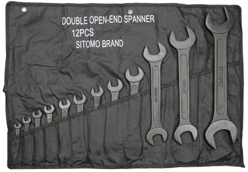 Набор ключей рожковых 12шт 8х10-30х32мм оксид сумка-скатка