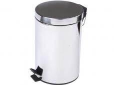 Ведро для мусора хром с педалью/крышкой 12л 25,5х24х38,5см
