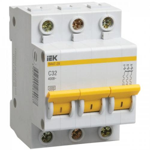 Выключатель автоматический IEK ВА47-29 3Р C63А 4,5кА 230/400В (MVA20-3-063-C)