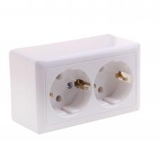 Розетка открытой проводки 2места РА16-237-В 16А 250В IP20 белая без заземления и шторок