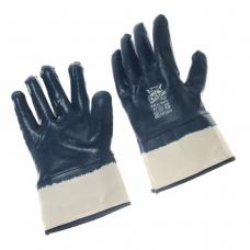 Перчатки нитриловые полное покрытие синий нитрил манжета-крага /NBR4530/