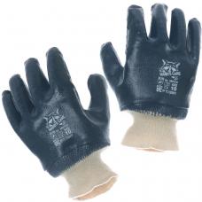 Перчатки нитриловые полное покрытие синий нитрил трикотажная манжета /NBR1530/