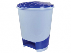 Ведро для мусора пластиковый с педалью/крышкой 10л голубое ф260хh320(М1380)