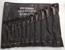 Набор ключей накидных 12шт 8х10-30х32мм оксид сумка-скатка Sitomo 206468