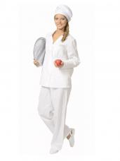 Костюм поварской (бязь) женский (куртка+брюки) (белый)