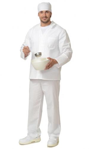 Костюм поварской (бязь) мужской (куртка+брюки) (белый)