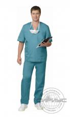 Костюм Хирурга универсальный (блуза+брюки) тк.Тиси (зеленый)