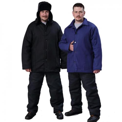Куртка ватная телогрейка (диагональ) черная/т-синяя