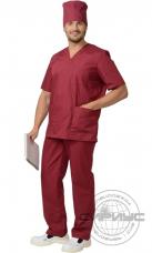 Костюм Хирурга универсальный (блуза+брюки) тк.Тиси (бордовый)