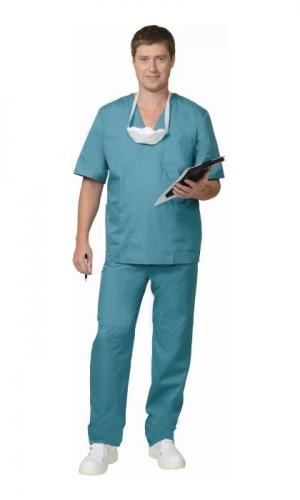 Костюм Хирурга универсал (блуза+бр) зеленый 18%