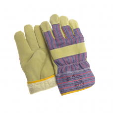 Перчатки комбинированные искусственный мех спилк свиной/подкладка, крага текстиль /0202/