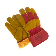 Перчатки комбинированные искусственный мех спилк с хлопком, крага прорезиненная /0385/