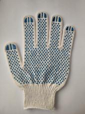 Перчатки трикотажные х/б с точечным ПВХ вязаные 4-нитка кл.10 белый (СП-20/10)