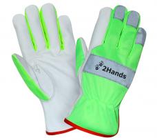 Перчатки кожаные повышенной видимости (HiViz) 2Hands 0129