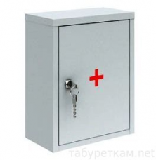Шкаф медицинский навесной металлический АМ-1 ПАКС св-серый замок 380х300х160мм (0%)