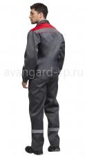 Костюм Тимбер брючный тк.Смесовая ВО СОП пуг. серый-красный