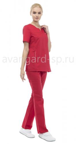 Блуза LF2108 Скарлет женская тк.Смес. стрейч кор.рук. V-ворот красный
