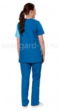 Костюм Волна жен. блуза+брюки тк.Тиси короткий рукав т.синий+голубой