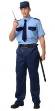 Рубашка Охранника короткий рукав тк.Смес. погоны голубой т.син.отд.