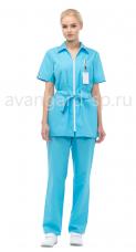 Костюм Фиеста жен. блуза+брюки тк.Смес. молн. пояс кор.рук голубой